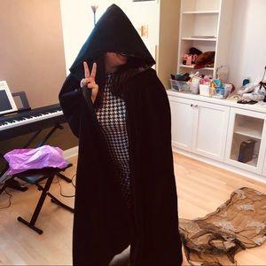Halloween costume black hooded Cape